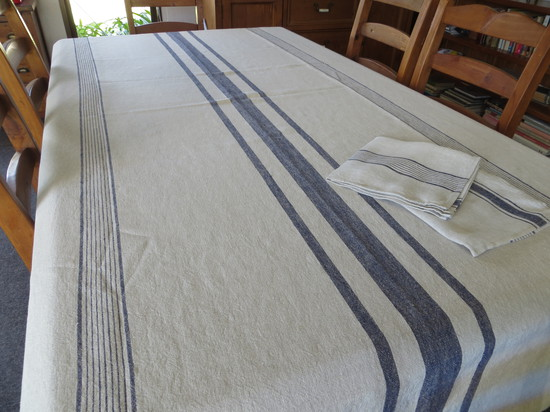 Natural Linen Tablecloth with Blue Stripes