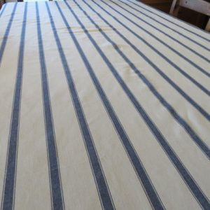 100 % Cotton Blue Stripe Linen Look Tablecloth
