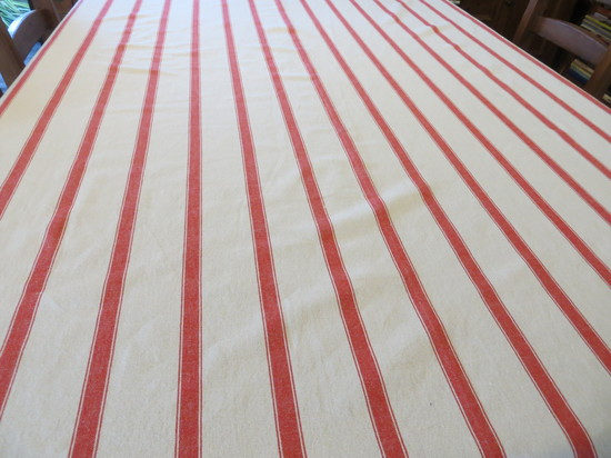 100 % Cotton Red Stripe Linen Look Tablecloth