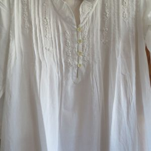 White Cotton Nightie with 3/4 Sleeves