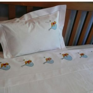 Bear on Balloon Design Cot Sheet and Pillowcase