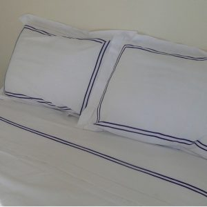 Navy Stripe Cotton Sheet and Pillowcases