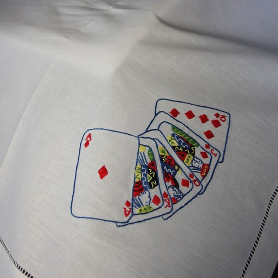Cotton Embroidered Bridge Tablecloths And Napkins The