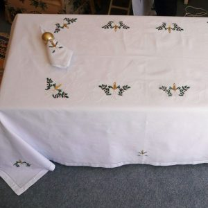 Christmas Candles Tablecloths and Napkins