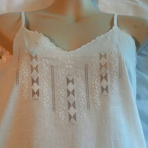 Embroidered Cotton Nightie with Straps