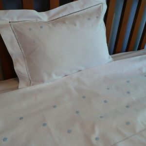 Light Blue Spot Cot Sheet and Pillowcase
