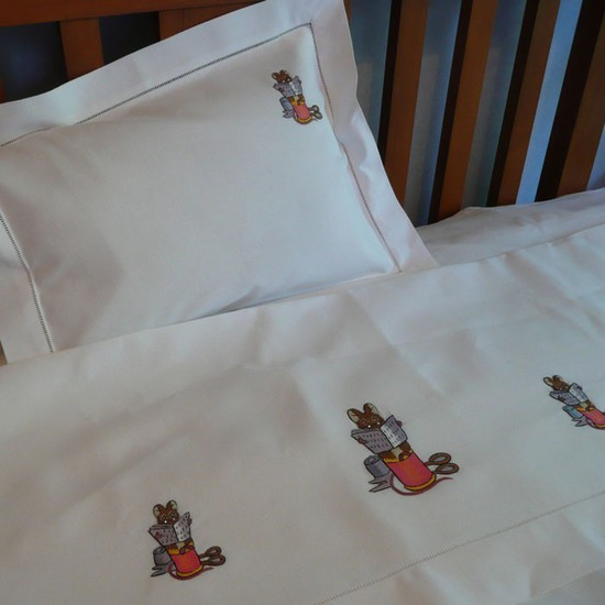 Mouse Reading Cot Sheet and Pillowcase Set