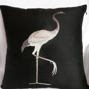 Bird On Black Taffeta Cushion Cover