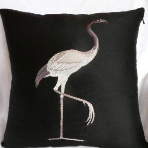 Bird On Black Taffeta Cushion Cover