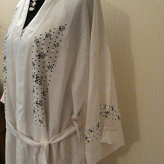 Silk Robe with Black Embroidery