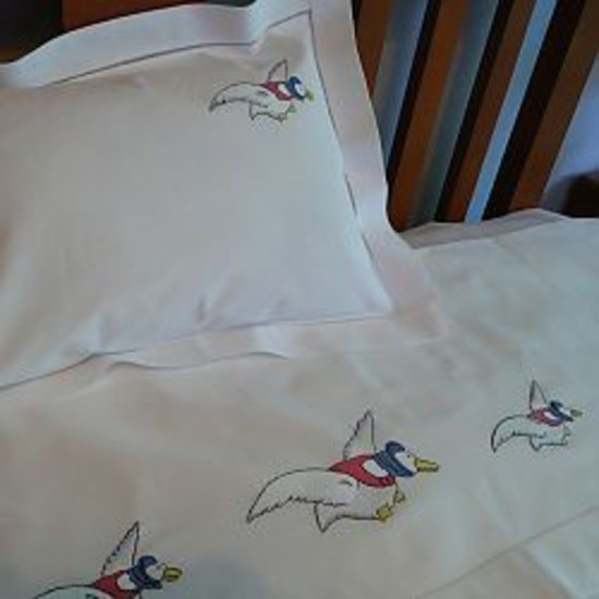 Goose Flying Design Cot Sheet and Pillowcase