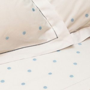 Light Blue Spot Cotton Sheet and Pillowcases