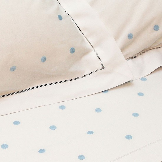 Light Blue Spot Cotton Sheet and Pillowcases