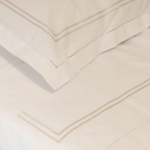 Beige-Gold Stripe Cotton Sheet and Pillowcases