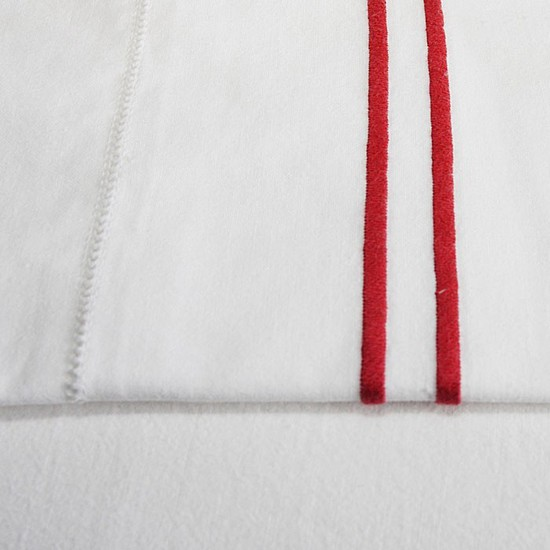 Red Stripe Cotton Sheet and Pillowcases