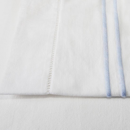 Light Blue Stripe Cotton Sheet and Pillowcases
