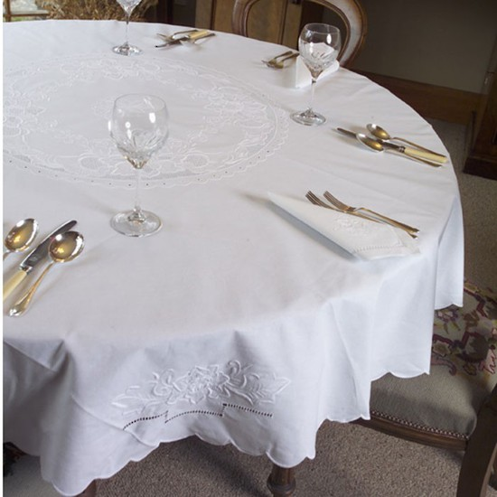 Floral Hand Embroidered Tablecloths and Napkins